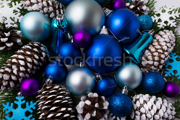 Christmas greeting background with blue color shades ornaments Stock photo © TasiPas