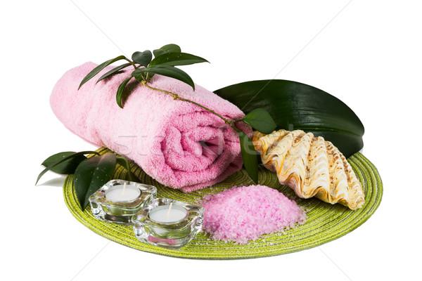 Сток-фото: Spa · розовый · морская · соль · свечей · санаторно-курортное · лечение · массаж