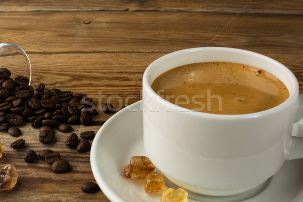 Fincan güçlü sabah kahve esmer şeker kahve molası Stok fotoğraf © TasiPas