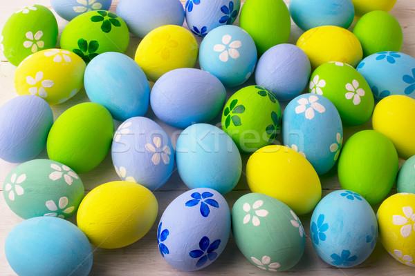 Pasztell színes húsvéti tojások húsvét étel természet Stock fotó © TasiPas