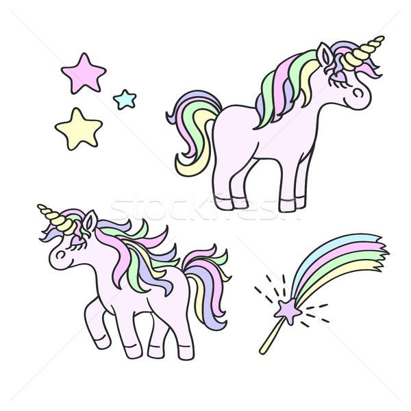 Unicorn and magic wand vector element set Stock photo © TasiPas