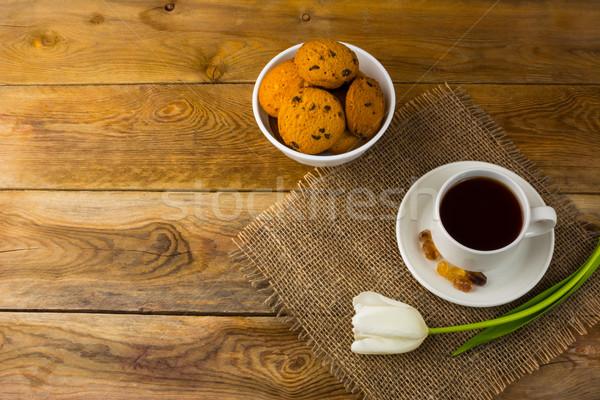 Biscuits haut vue déjeuner cookies Photo stock © TasiPas