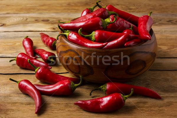Red hot chilli pepper in wooden bowl Stock photo © TasiPas