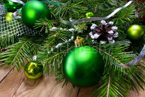 Рождества зеленый орнамент венок скопировать Сток-фото © TasiPas