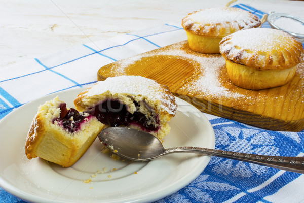 Stock photo: Sweet small pie on the white plate, close up