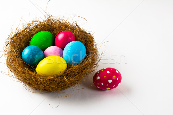 Easter eggs in a nest and pink Easter egg Stock photo © TasiPas