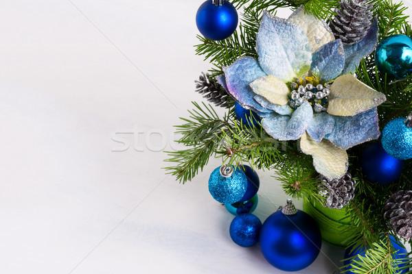 Navidad decoración azul seda plata pino Foto stock © TasiPas