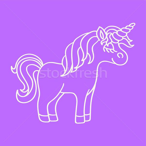 Fantasy unicorn white sketch icon on purple background Stock photo © TasiPas