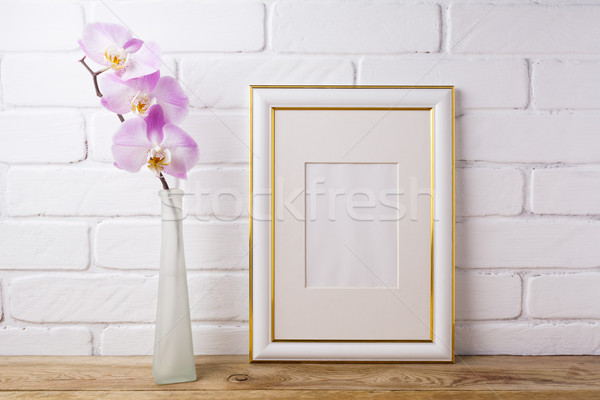 Gold decorated frame mockup with tender pink orchid  Stock photo © TasiPas