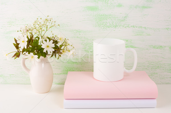 Mok vers bloemen koffiekopje sjabloon Stockfoto © TasiPas