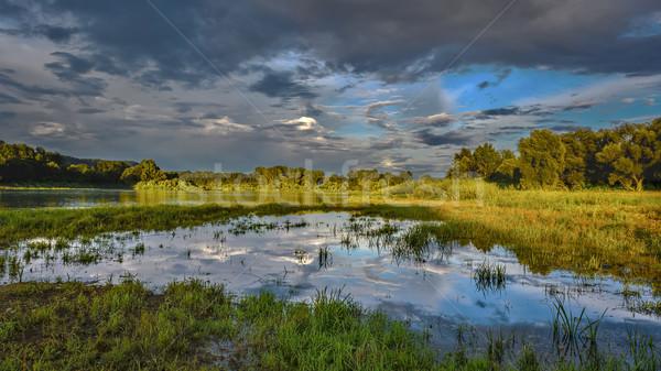 Bulutlu gökyüzü güzel sel manzara nehir Stok fotoğraf © TasiPas