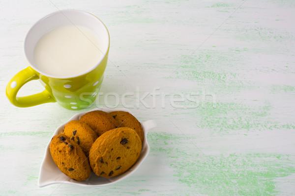 Latte cookies copia spazio colazione dolce Foto d'archivio © TasiPas
