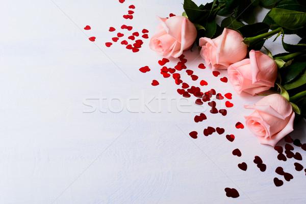 Wedding pallido rosso cuori elegante Foto d'archivio © TasiPas