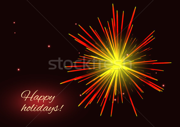 Radiant red yellow fireworks greeting holidays background Stock photo © TasiPas