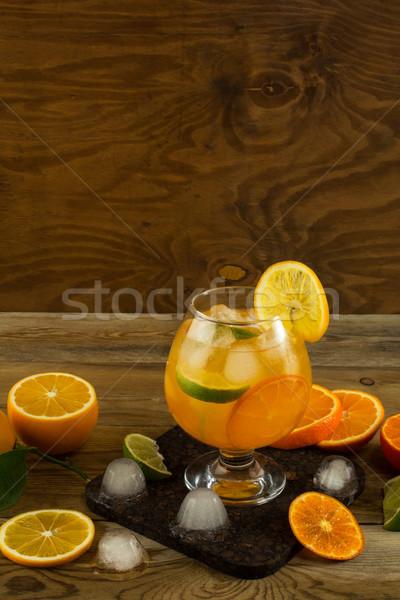 Serin meyve kokteyl ahşap masa yer metin Stok fotoğraf © TasiPas