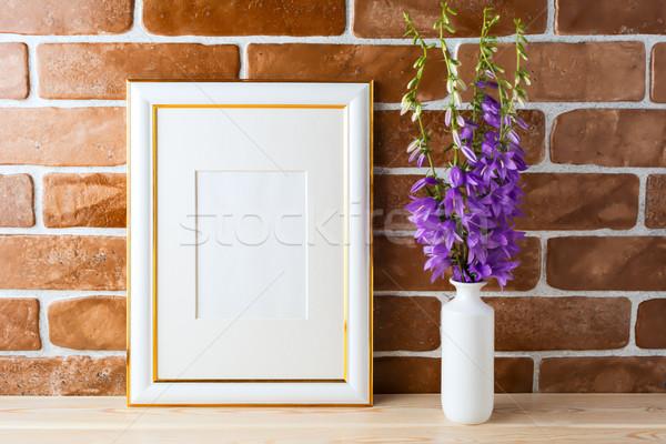 Arany díszített keret vázlat virágcsokor védtelen Stock fotó © TasiPas