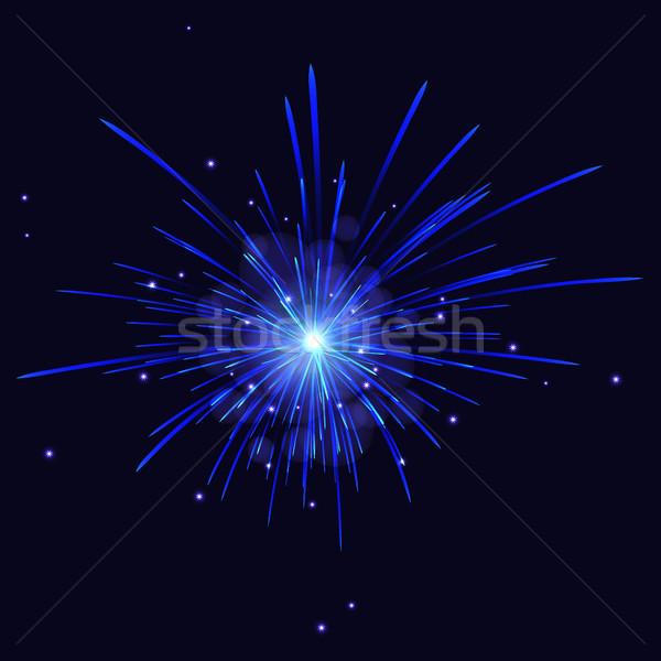 水色 花火 休日 お祝い ベクトル 夜空 ストックフォト © TasiPas
