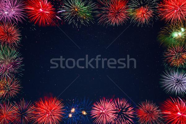 Celebration sparkling fireworks greeting card, copy space Stock photo © TasiPas