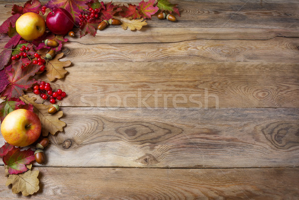 Border of apples, acorns, berries and fall leaves on the old woo Stock photo © TasiPas