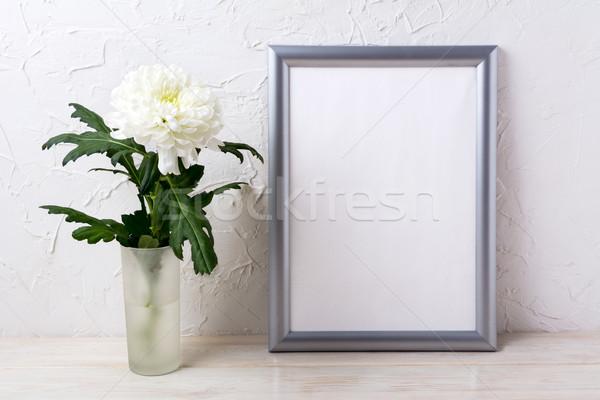 Stok fotoğraf: Gümüş · çerçeve · beyaz · krizantem · cam