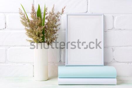 Biały ramki trawy zielone liście cylinder Zdjęcia stock © TasiPas