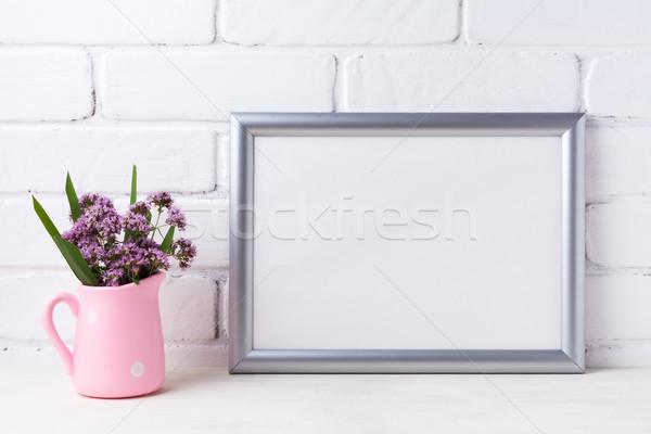 Prata paisagem quadro roxo flores Foto stock © TasiPas