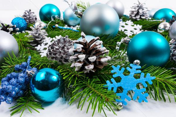 Karácsony egyezség kék hópehely ezüst türkiz Stock fotó © TasiPas