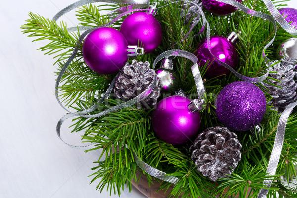 Natal decoração prata brilho roxo Foto stock © TasiPas