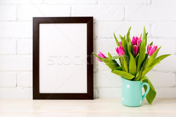 Siyah kahverengi çerçeve zengin pembe Stok fotoğraf © TasiPas