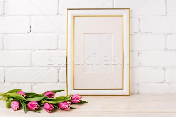 Arany díszített keret vázlat magenta tulipánok Stock fotó © TasiPas