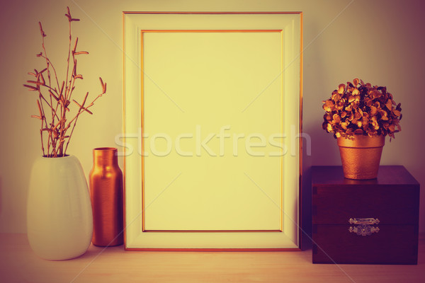 Frame mockup with wooden box vintage styled Stock photo © TasiPas