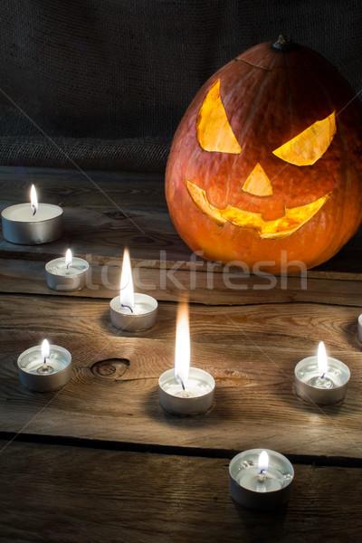 Halloween pumpkin vertical copyspace Stock photo © TasiPas