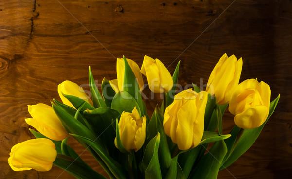Bahar sarı buket ahşap çiçekler tebrik Stok fotoğraf © TasiPas