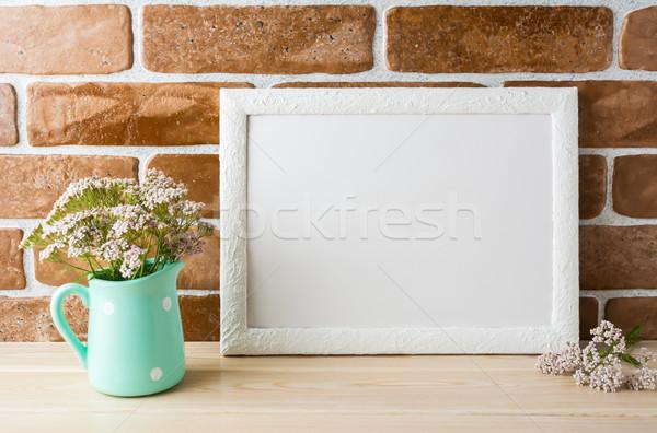 белый пейзаж кадр сливочный розовый Сток-фото © TasiPas