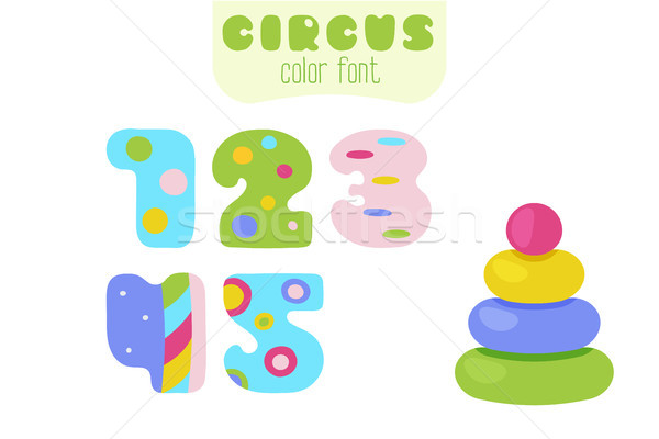 Cartoon colorful numbers 1, 2, 3, 4, 5 and pyramid toy Stock photo © TasiPas