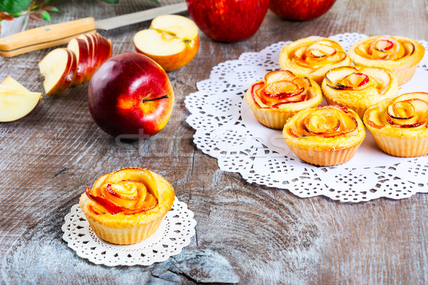 Muffin  with rose shaped apple Stock photo © TasiPas