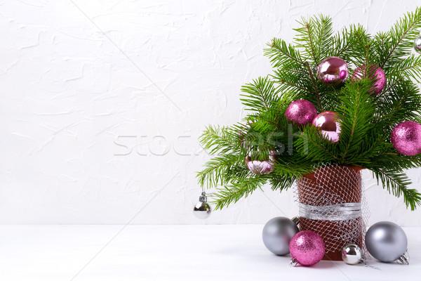 Natal rosa prata cópia espaço tabela Foto stock © TasiPas