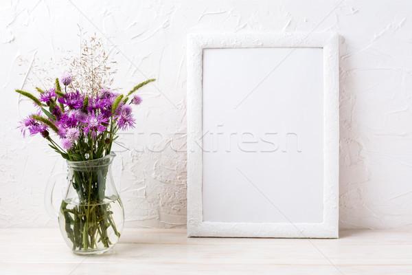 белый кадр цветы кувшин Purple Сток-фото © TasiPas