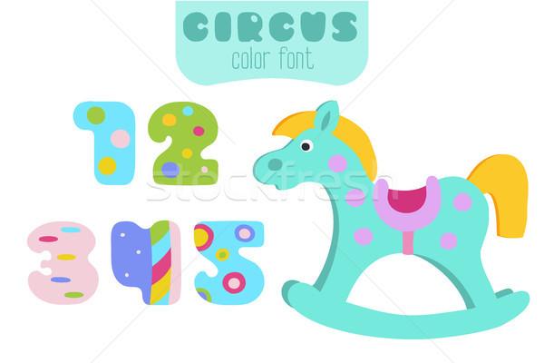 Colorato numeri cavallo a dondolo divertente cartoon stile Foto d'archivio © TasiPas