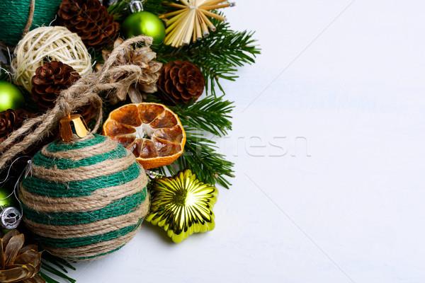 Christmas rustiek ornamenten pine groet exemplaar ruimte Stockfoto © TasiPas