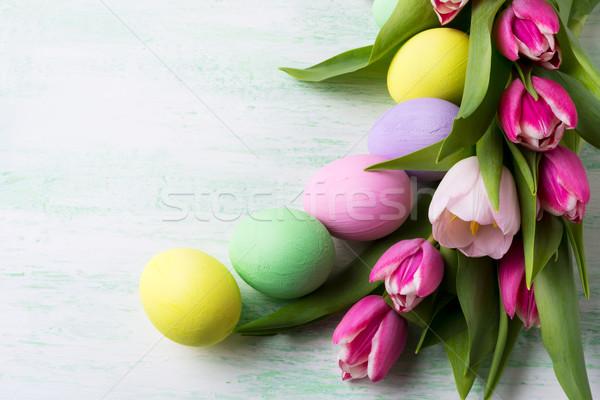 Húsvét egyezség sápadt szín festett tojások Stock fotó © TasiPas