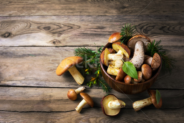 Forest picking mushrooms in the dark wooden bowl, top view Stock photo © TasiPas