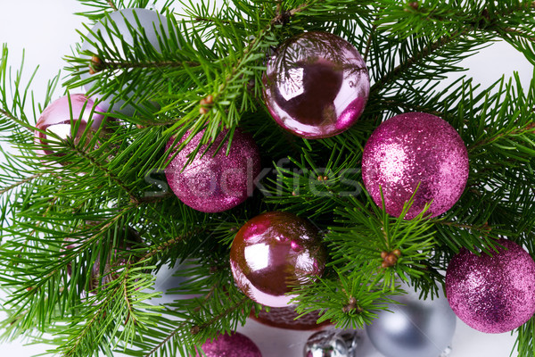 Christmas background with glitter magenta, pink and silver baubl Stock photo © TasiPas