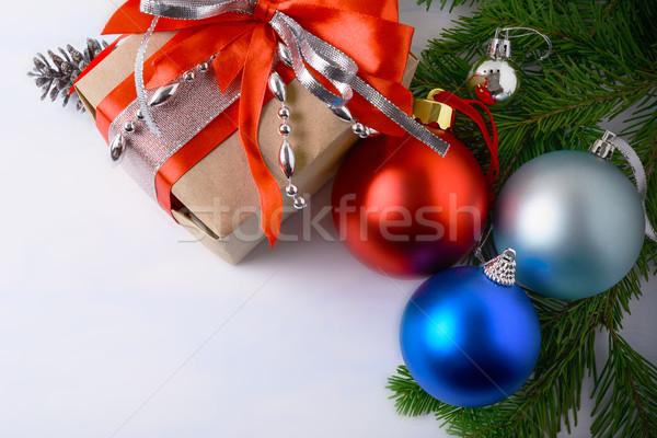 Rouge bleu pâle argent Noël ornements Photo stock © TasiPas