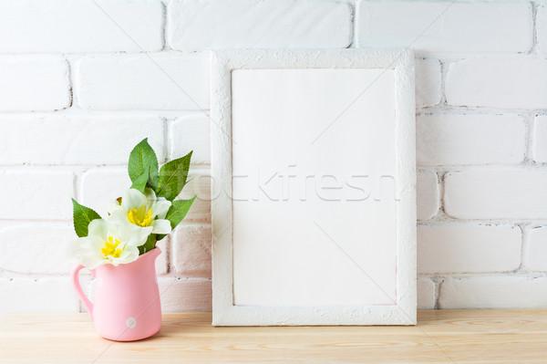 白 フレーム 素朴な ピンクの花 ポット ストックフォト © TasiPas