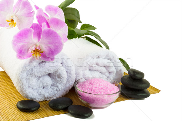 Spa concept with pink orchid isolated on white Stock photo © TasiPas