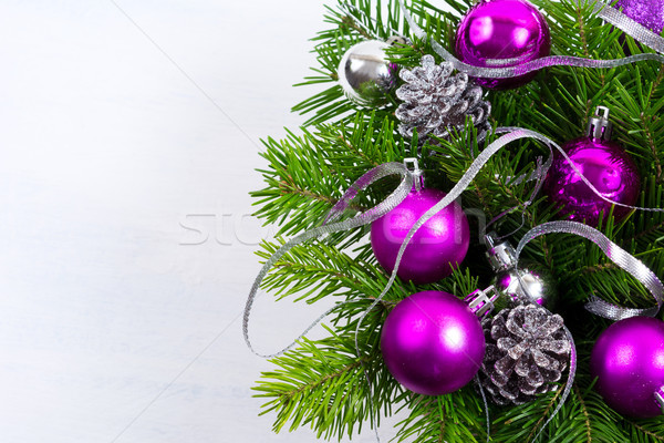 christmas background with purple ornament copy space stock photo