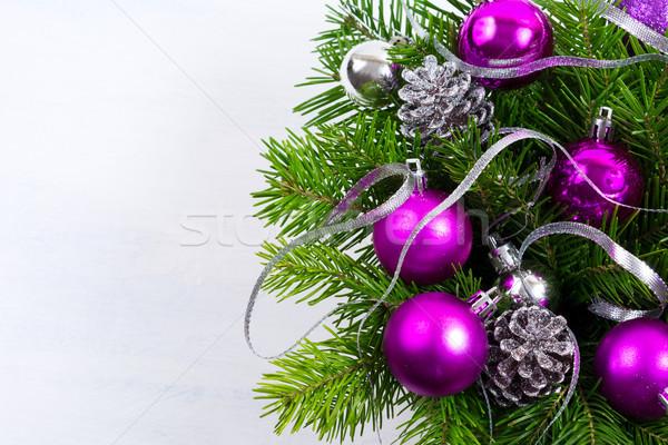 Natale viola ornamento copia spazio saluto Foto d'archivio © TasiPas