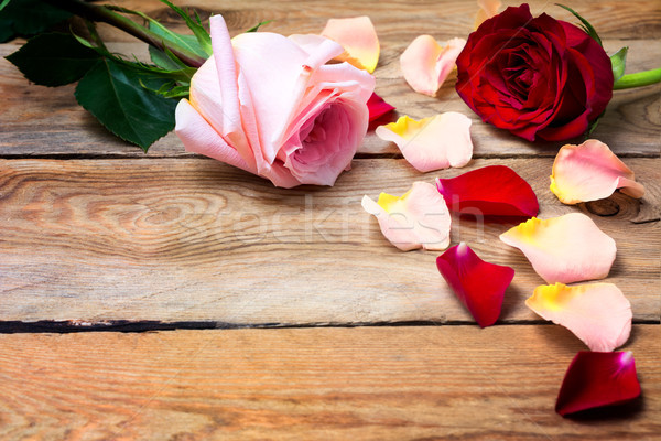 Stock photo: Valentine's Day background with pink and red roses, copy space.