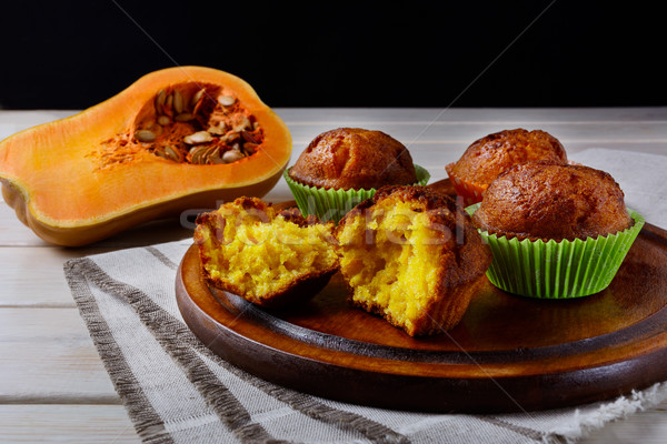 Homemade butternut squash muffins on the cutting board Stock photo © TasiPas